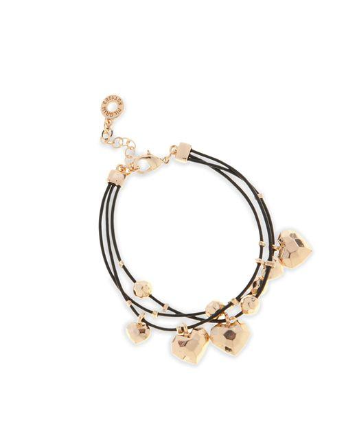 Pilgrim - Metallic Rose Gold Plated Hearts Triple Cord Bracelet - Lyst