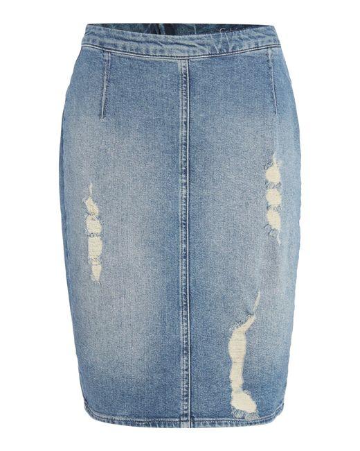 calvin klein ripped denim pencil skirt in blue denim mid