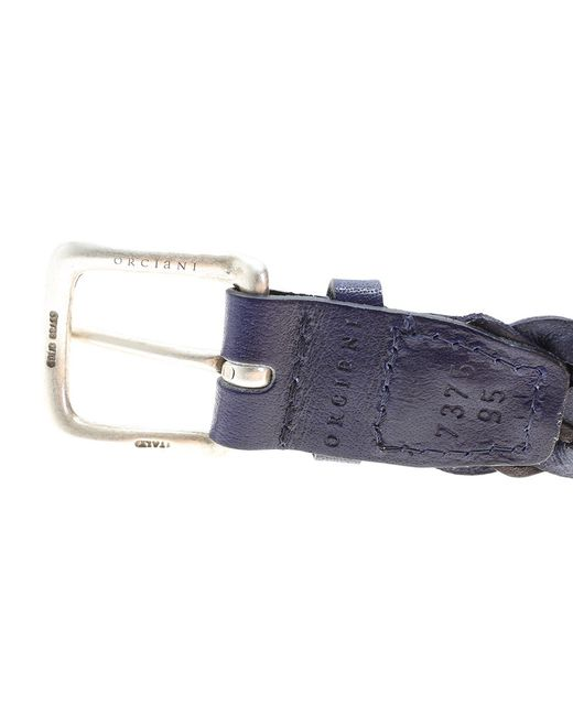 orciani braided leather belt in purple for lyst