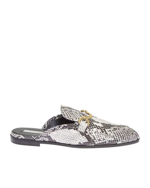 Stella McCartney   Black And White Faux Python Loafers Sabot   Lyst
