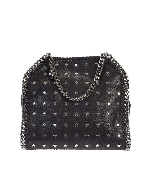 Stella McCartney | Black Falabella Mini Tote Bag With Stars Studs | Lyst
