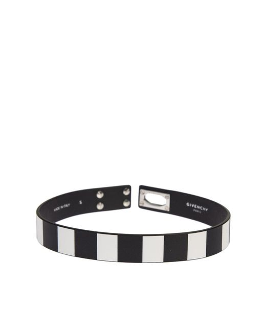 Givenchy - Black And White Leather Row Shark Bracelet - Lyst