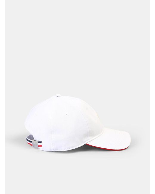 e7a36c2a0f2 Moncler - White Logo Patch Cotton Hat for Men - Lyst ...