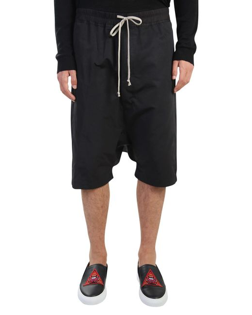 Rick Owens | Black Low Crotch Cotton Shorts for Men | Lyst