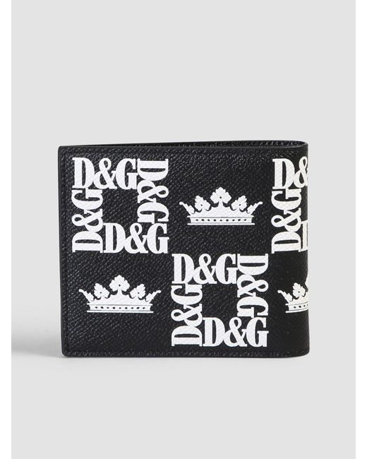 a0c965a668 Lyst - Dolce   Gabbana Printed Leather Wallet in Black