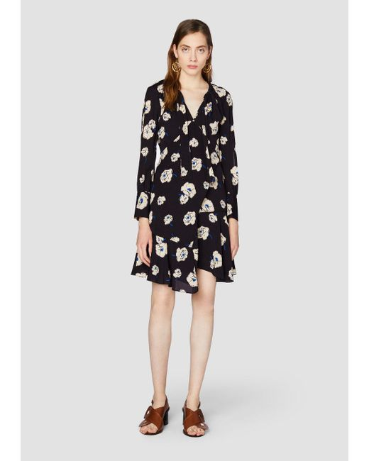 Lyst 10 Crosby Derek Lam Long Sleeve Shift Dress With Asymmetrical