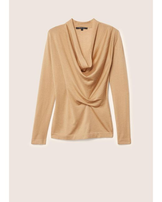 Derek Lam | Natural Long Sleeve Sweater With Drape Front | Lyst