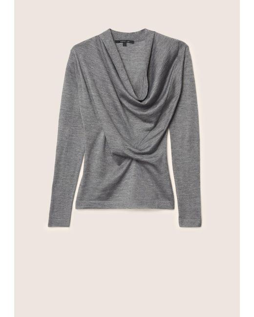 Derek Lam   Gray Long Sleeve Sweater With Drape Front   Lyst