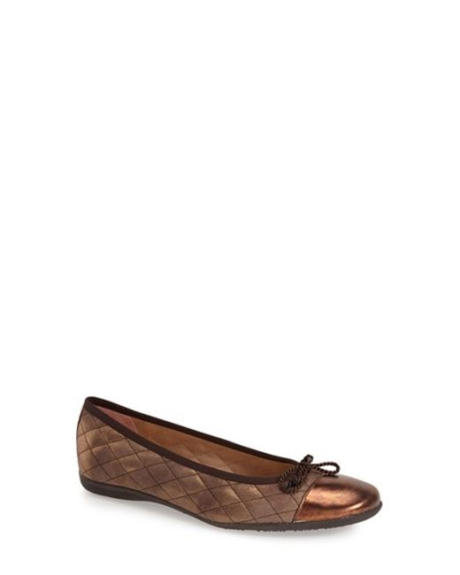 French Sole | Metallic Passport Quilted Suede Flats | Lyst