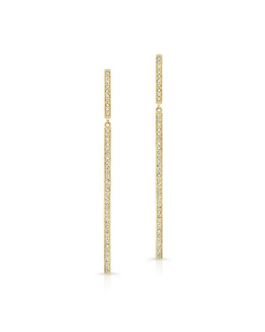 Anne Sisteron | 14kt Yellow Gold Diamond Long Bar Earrings | Lyst