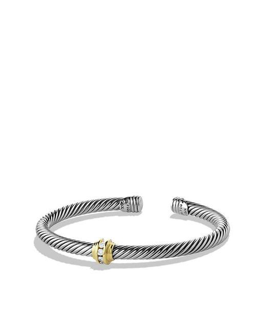 David Yurman | Metallic Cable Classics Single-station Bracelet With Diamonds And 14k Gold, 5mm | Lyst