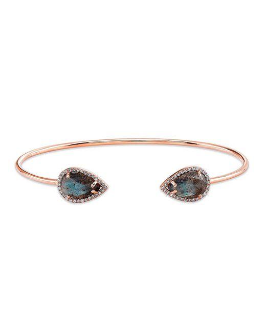 Anne Sisteron | Blue 14kt Rose Gold Labradorite Diamond Throne Cuff | Lyst