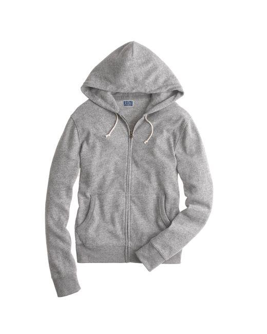 J.Crew | Gray Slim Brushed Fleece Zip Hoodie for Men | Lyst