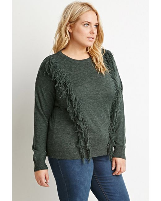 Forever 21 | Green Plus Size Tassel-front Sweater | Lyst