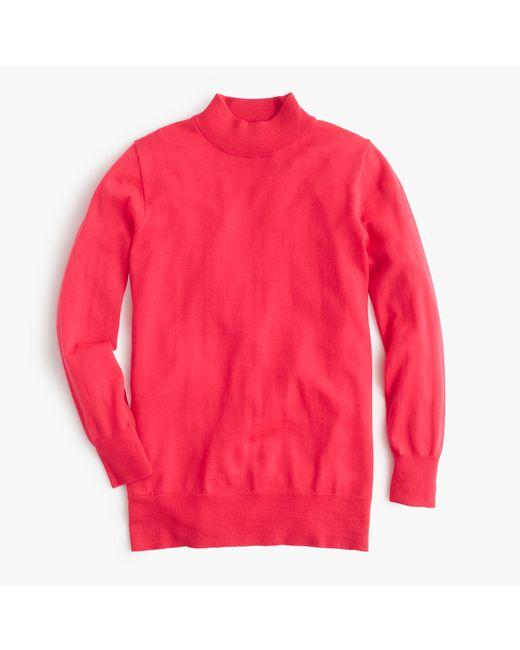 J.Crew | Red Petite Tippi Mockneck Sweater | Lyst