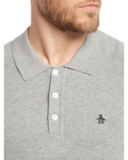 Original Penguin | Gray Long Sleeve Sweater Polo for Men | Lyst