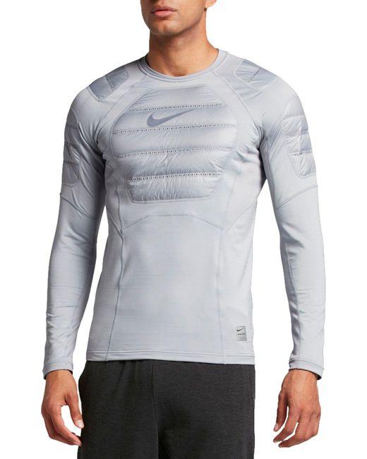 e2dd378812dae Nike - Gray Pro Aeroloft Long Sleeve Shirt for Men - Lyst ...
