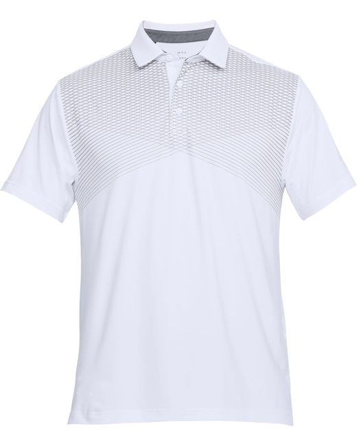 2b7893a8ac ... Under Armour - White Playoff Line Print Golf Polo for Men - Lyst ...