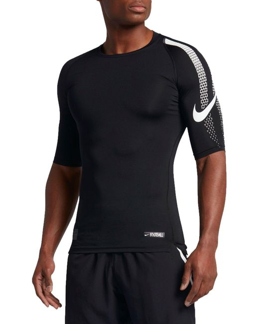 lyst nike pro half sleeve compression football shirt in