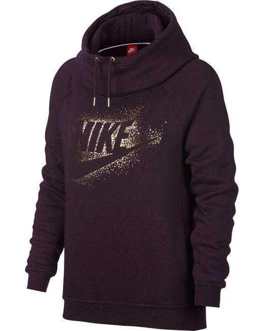 Nike | Purple Sportswear Rally Metallic Funnel Neck Graphic Hoodie for Men | Lyst
