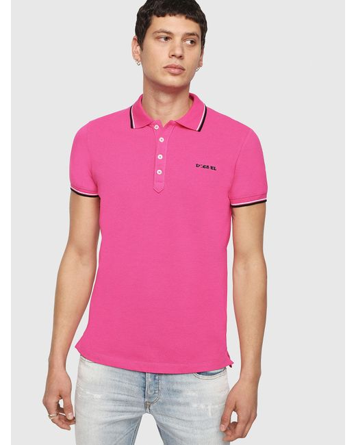 48bba344 DIESEL - Pink Polo With Coloured Trim Collar for Men - Lyst ...