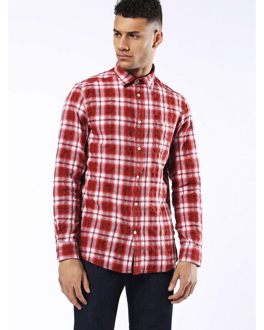 DIESEL | White Shirt S-tokie Check Shirt for Men | Lyst