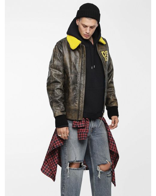 DIESEL - Brown Treated Leather Bomber Jacket for Men - Lyst