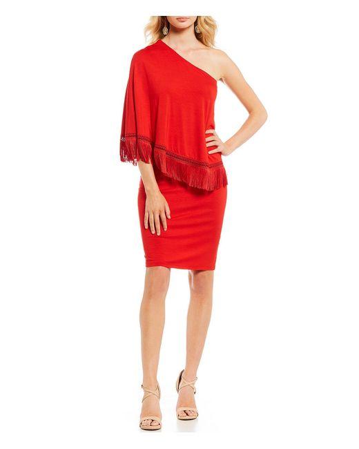 Trina Turk - Red Eastside One Sleeve Fringe Trim Sheath Dress - Lyst