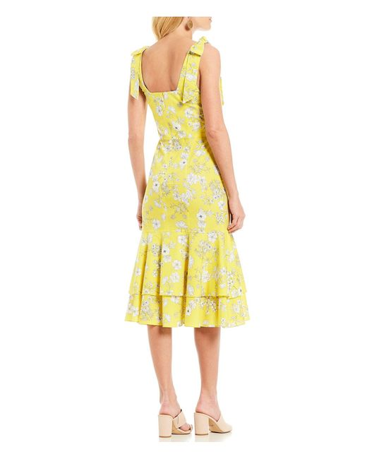 2f28a4fa88 ... Gianni Bini - Yellow Billie Floral Print Square Neck Tie Shoulder  Flounce Hem Midi Dress ...