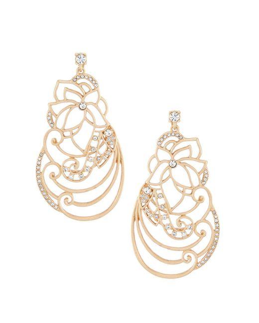 Belle By Badgley Mischka - Metallic Floral Scroll Statement Earrings - Lyst