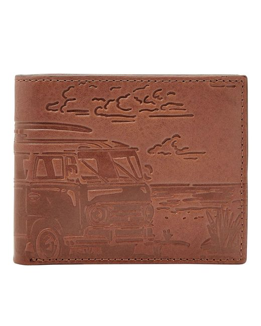 Fossil - Brown Cooper Leather Rfid Bifold Flip Id Wallet for Men - Lyst