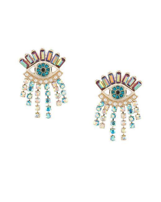 Betsey Johnson | Multicolor Colorful Evil Eye & Fringe Stud Statement Earrings | Lyst