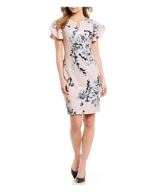 d272751442c48 Calvin Klein - Gray Floral Print Scuba Crepe Keyhole Neck Flutter Sleeve  Sheath Dress - Lyst ...