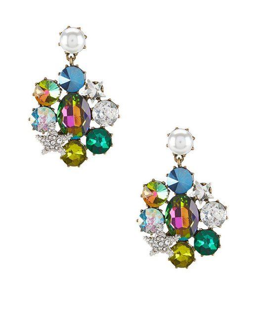 Betsey Johnson | Multicolor Faux-pearl & Stone Clip-on Drop Earrings | Lyst