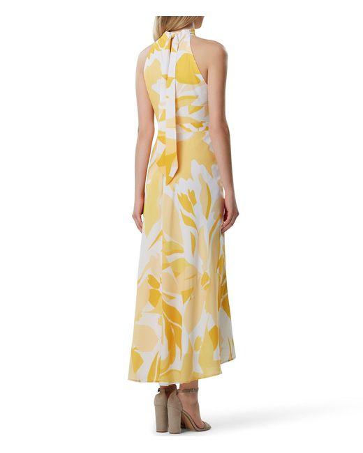 63298df9f3 ... Tahari - Metallic Halter Neck Printed Maxi Dress - Lyst