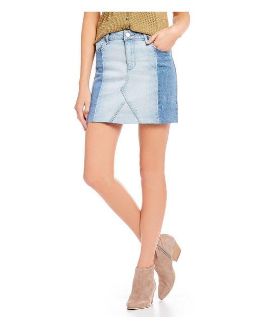 Celebrity Pink - Blue Denim Blocked Mid Rise Skirt - Lyst