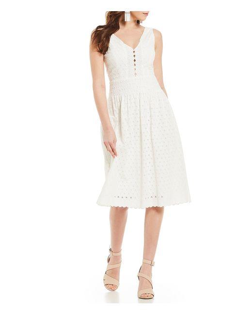 d0bdb234f Gianni Bini - White Venda Eyelet Sleeveless V-neck Midi Dress - Lyst ...