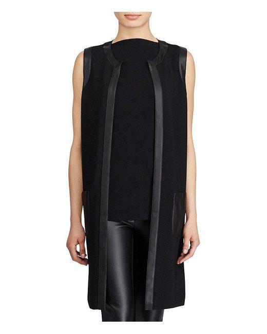 Lauren by Ralph Lauren | Black Faux Leather Trim Vest | Lyst