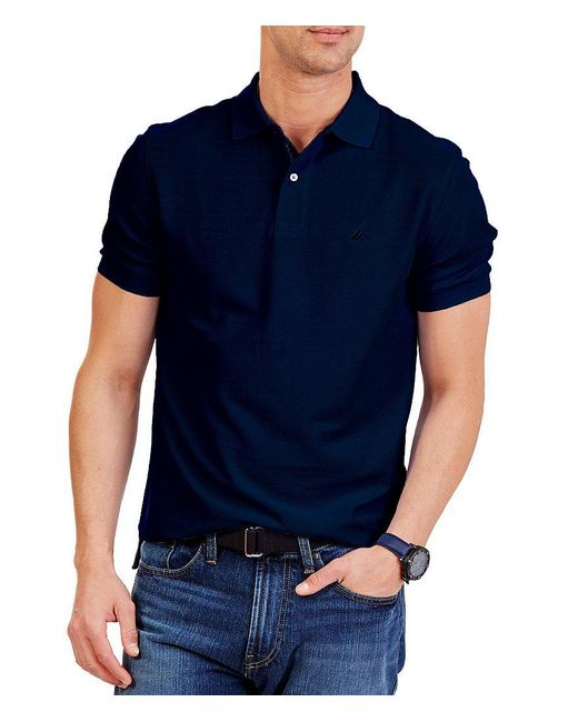 Nautica - Black Short-sleeve Solid Anchor Deck Polo for Men - Lyst