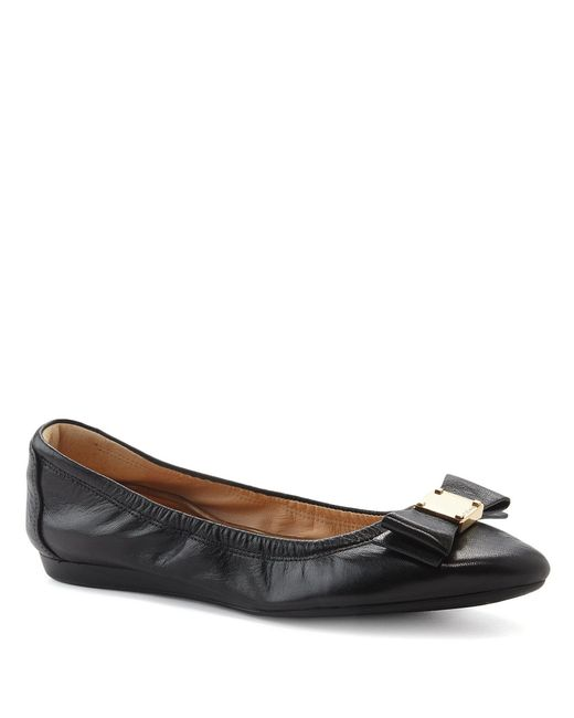 Cole Haan - Black Tali Bow Detail Leather Ballet Flats - Lyst