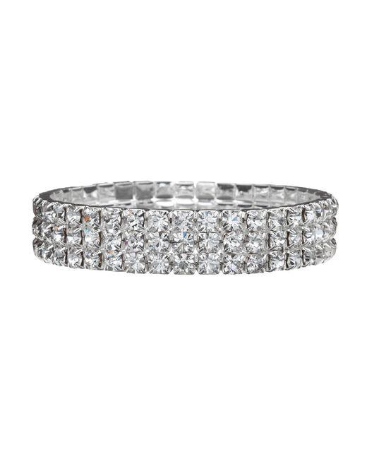 Cezanne - Metallic Three-row Crystal Stretch Bracelet - Lyst