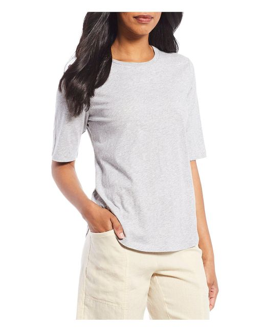 Eileen Fisher - Multicolor Round Neck Elbow Sleeve Top - Lyst