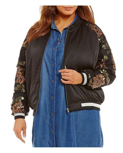 Jessica Simpson | Black Plus Tabby Embellished Bomber | Lyst