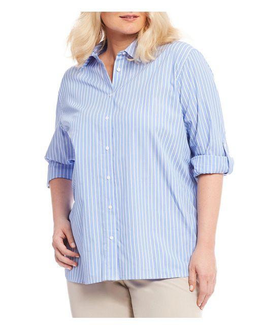 Calvin Klein - Blue Plus Roll Sleeve Striped Boyfriend Top - Lyst