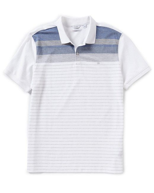 CALVIN KLEIN 205W39NYC - Blue Engineered Stripe Short-sleeve Polo Shirt for Men - Lyst