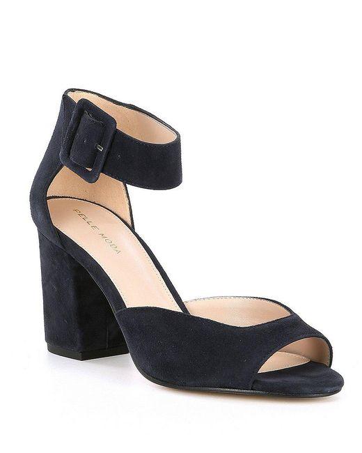 Pelle Moda Bijou Metallic Suede Block Heel Dress Sandals A0ZJLL