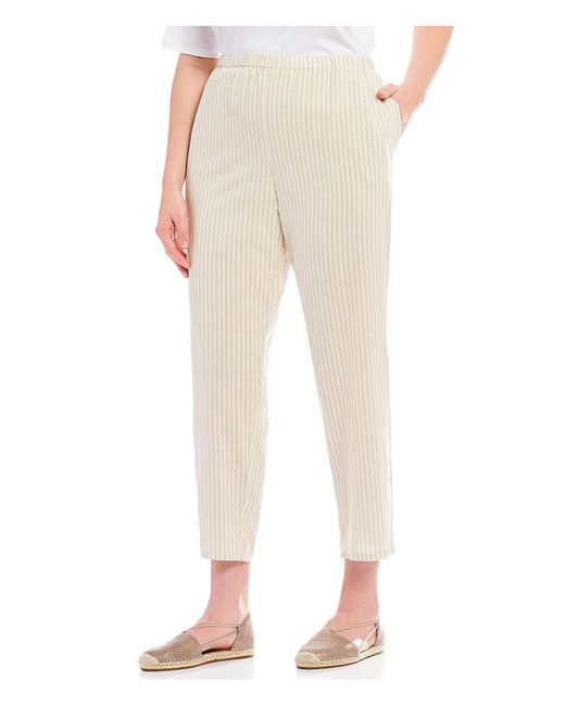 Eileen Fisher - Natural Plus Size Stripe Tapered Ankle Pants - Lyst
