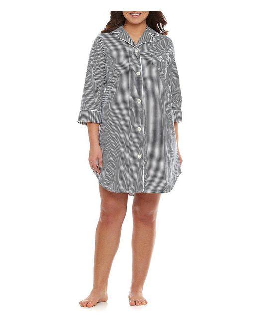 Lauren by Ralph Lauren | Gray Plus Classic Notch-collar Sleepshirt | Lyst