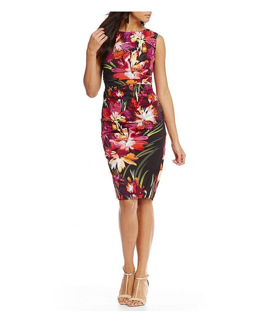 Nicole Miller Artelier | Red Lauren Midnight Garden Printed Sheath Dress | Lyst