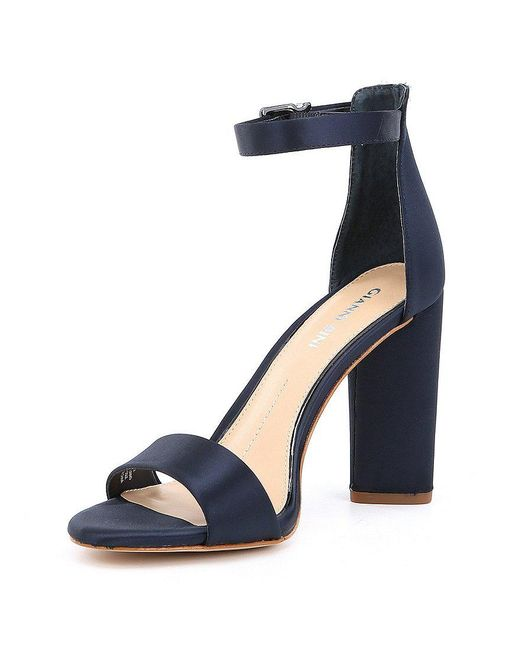 Gianni Bini Joenah Satin Two Piece Ankle Strap Block Heel Dress Sandals y1T82ieW